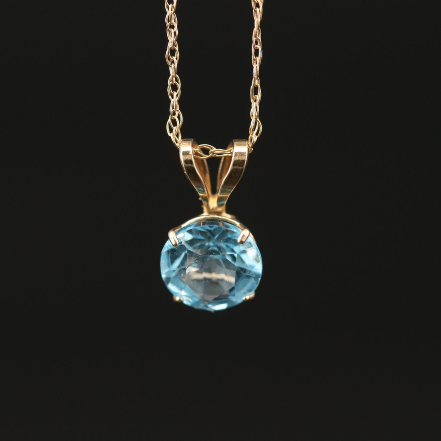 10K Topaz Solitaire Pendant Necklace