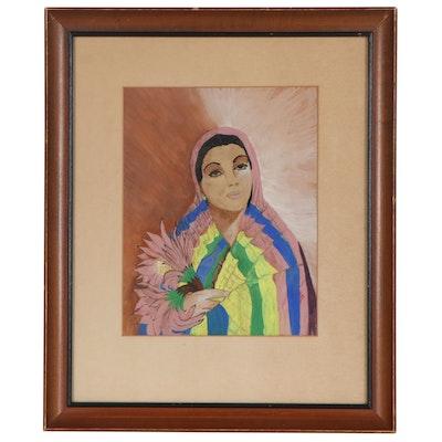 Portrait Watercolor Painting, Mid 20th Century