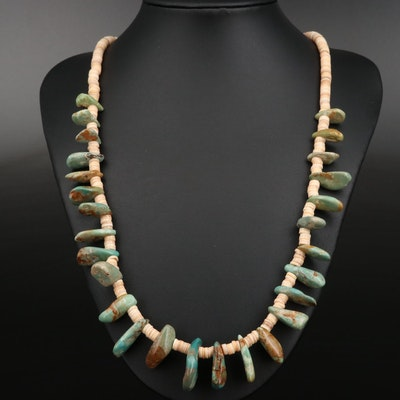 Running Bear Sterling Silver Turquoise and Shell Necklace