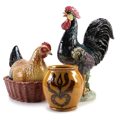 Breininger Pottery Redware Jar, Portuguese Hen Tureen and Vietri Rooster Figure