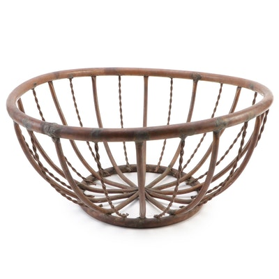 Artisan Designed Copper Ornamental Patio Basket