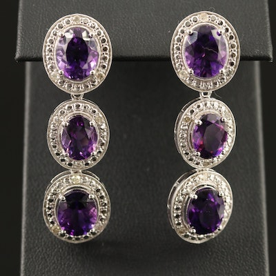 Sterling Silver Amethyst and Diamond Milgrain Dangle Earrings