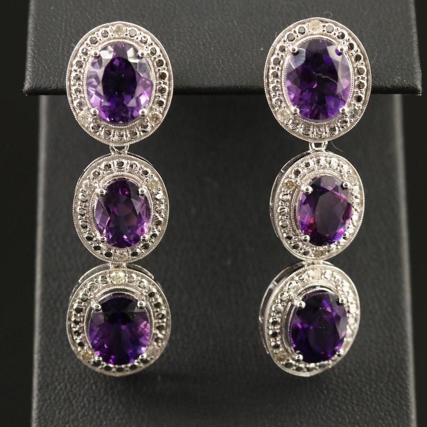 Sterling Silver Amethyst and Diamond Milgrain Dangle Earrings