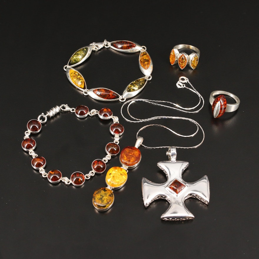 Sterling Silver Amber Jewelry Selection