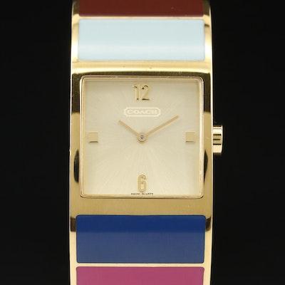 Coach Multi Colored Bangle Style Quartz Wristwatch