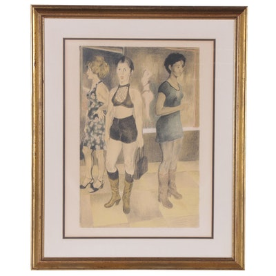 "Raphael Soyer Lithograph ""Eighth Avenue"""
