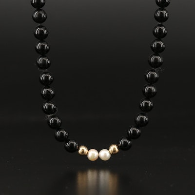 Single Strand Black Onyx and Pearl Necklace with 14K Beads and Clasp