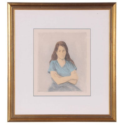 """Raphael Soyer Lithograph  """"Seated Woman Arms Crossed,"""" 1979"""