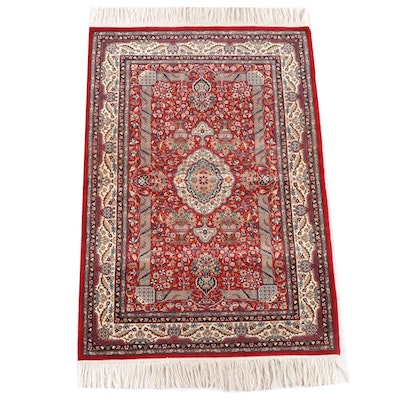 3'2 x 5'7 Hand-Knotted Persian Kashan Wool and Silk Rug