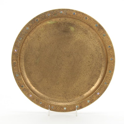 Tiffany Studios Bronze Doré Platter with Abalone Button Accents