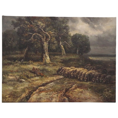 Oil Painting of Pastoral Landscape, 20th Century