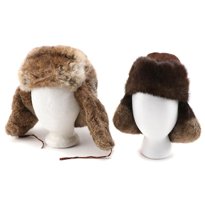 Orvis and Mad Bomber Otter and Rabbit Fur Trapper Hat and Cap