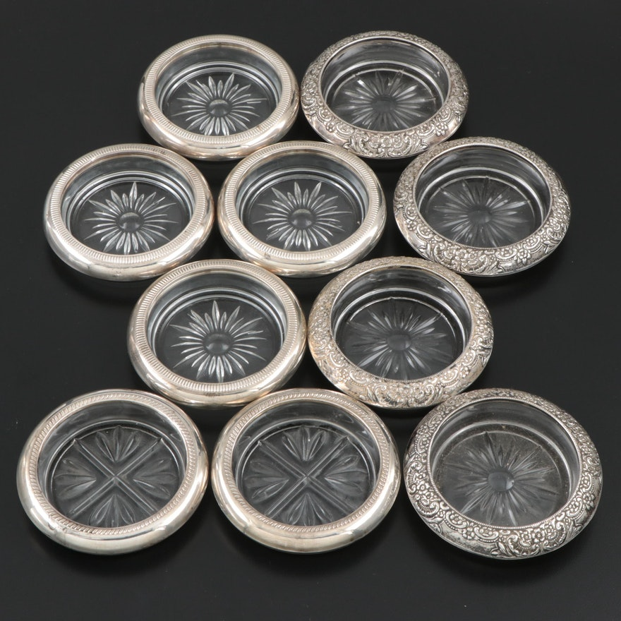 Frank M. Whiting, Crown, F.B. Rogers Sterling Silver Rimmed Glass Coasters