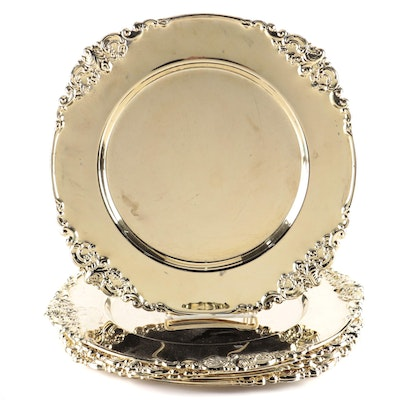 "Godinger ""Baroque"" Gold Tone Silver Plate Dinner Service Plates"