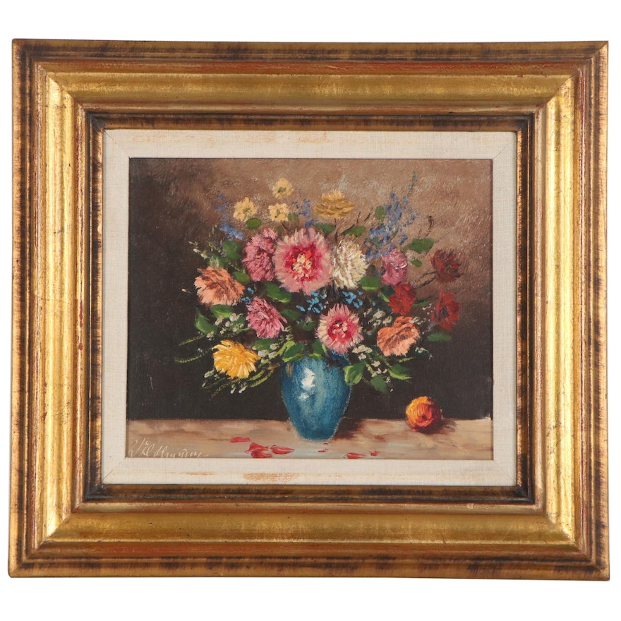 Ludwig Wiedemann Oil Painting of Flowers Still Life, Late 20th Century