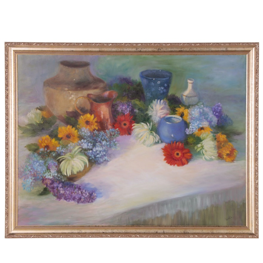 Tabletop Still Life Oil Painting, Late 20th Century