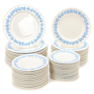 Wedgwood Of Etruria & Barlaston Embossed Queens Ware Dinnerware