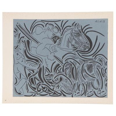 "Pablo Picasso Linoleum Cut ""Picador Goading Bull"", 1962"