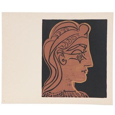 """Pablo Picasso Linoleum Cut """"Female Head in Profile,"""" 1962"""