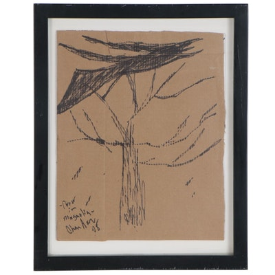 "Steven Chandler Folk Art Ink Drawing ""Crow in Magnolia"", 2008"