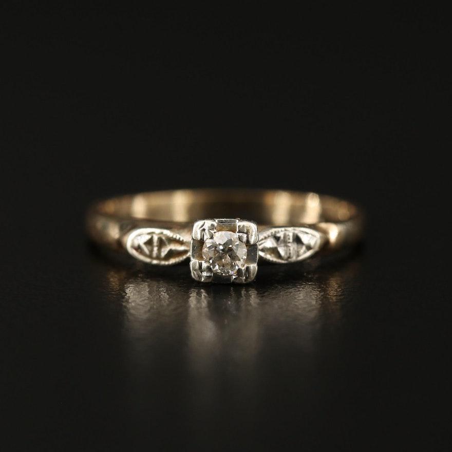 Vintage 14K 0.07 CT Diamond Solitaire Ring