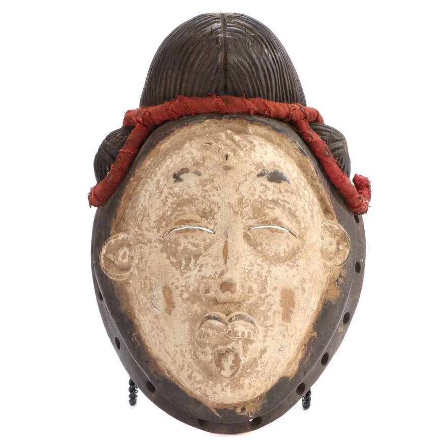 Punu Style Hand-Carved Wood Mask, Central Africa