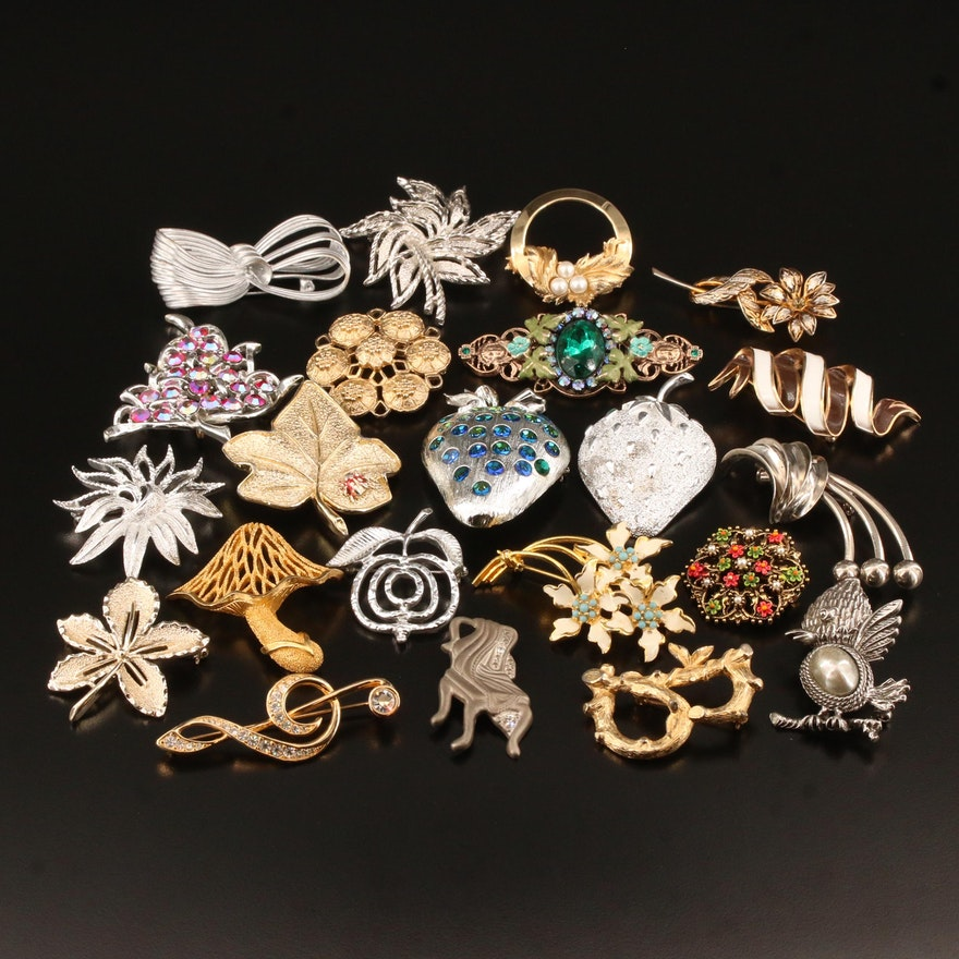 Vintage Brooches Featuring Swarovski, Crown Trifari and Weiss
