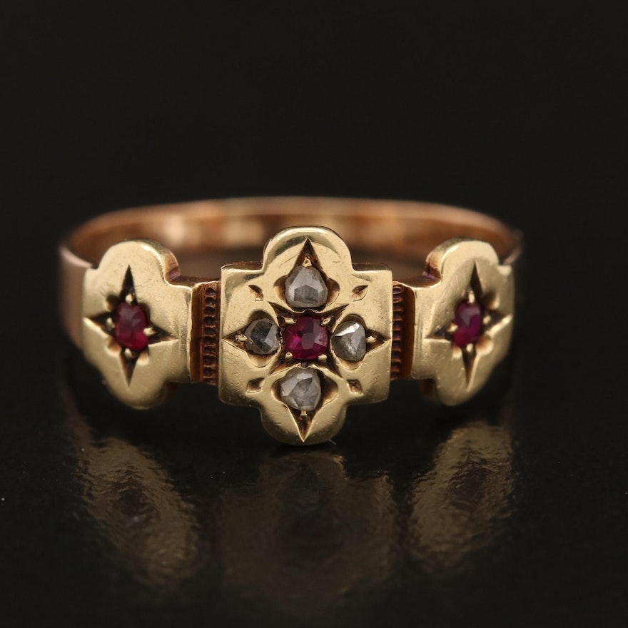 Early Victorian 14K Star Setting Ruby and Diamond Ring