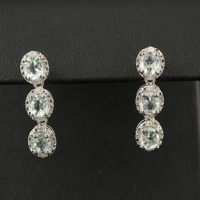 Sterling Aquamarine and Diamond Dangle Earrings