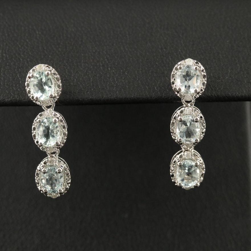 Sterling Aquamarine and Diamond Dangle Earrings