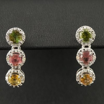 Sterling Tourmaline and Diamond Dangle Earrings