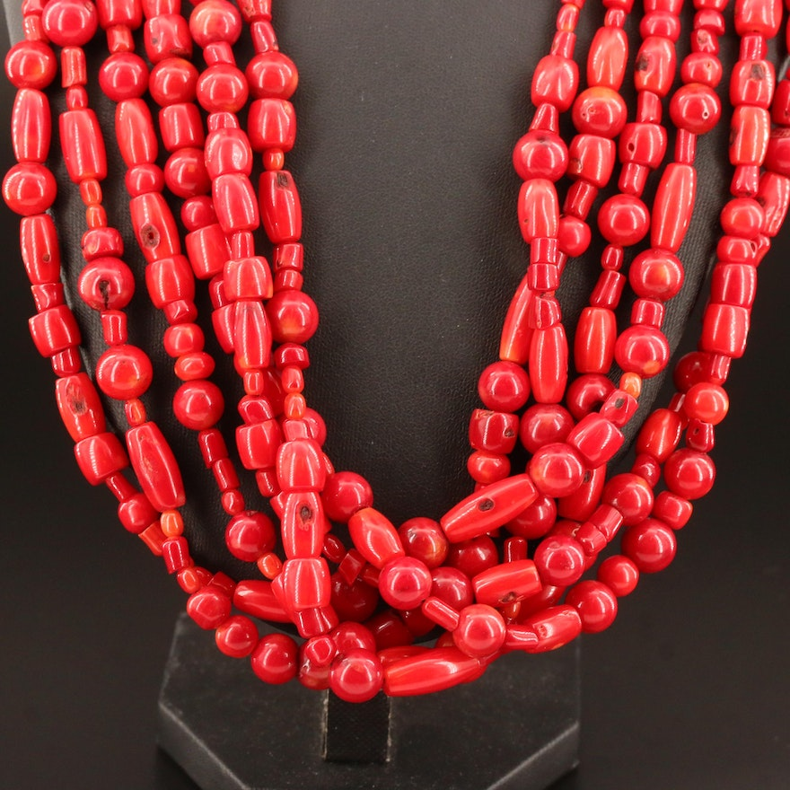 Coral Multi-Strand Necklace with Sterling Clasp