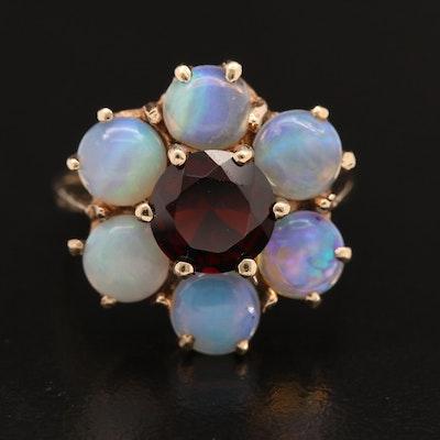 Vintage 10K Garnet and Opal Floral Motif Ring