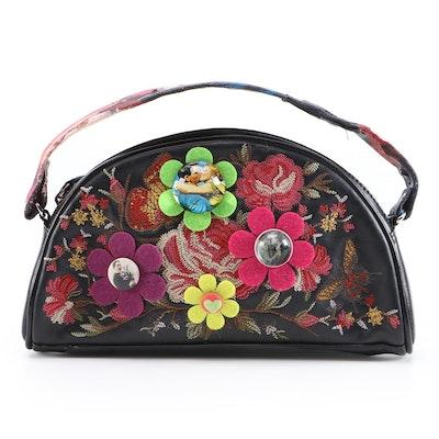Sharif Floral Appliqué and Embroidered Leather Handbag