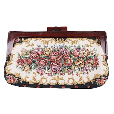 Floral Needlepoint Carpet Bag Clutch, 1960s Vintage