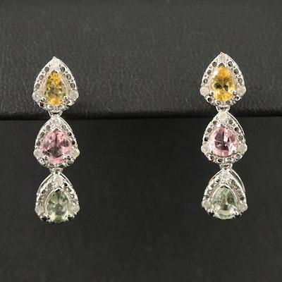 Sterling Silver Tourmaline and Diamond Teardrop Dangle Earrings