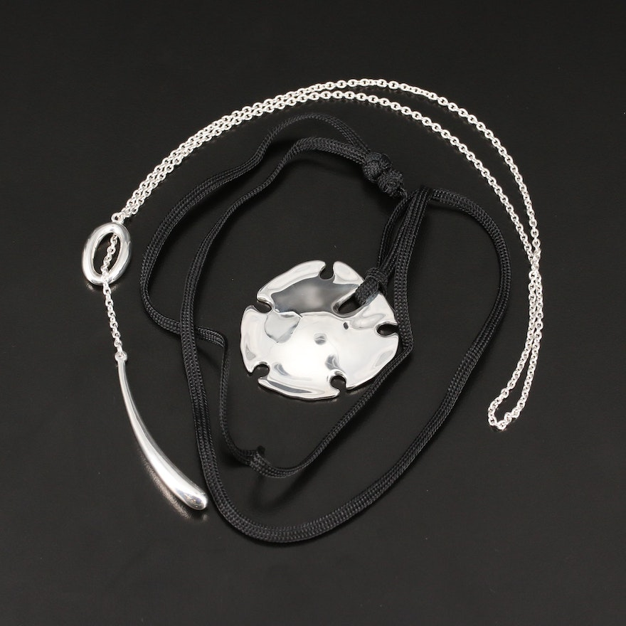 Robert Lee Morris Sterling Silver Sand Dollar Pendant and Lariat Necklace