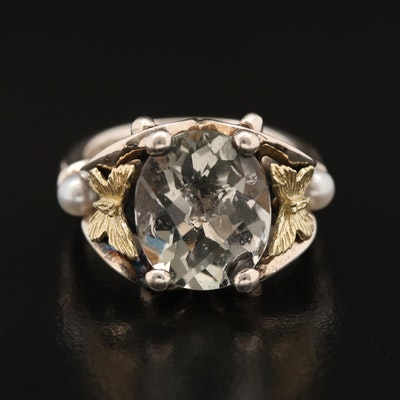 Ann King Sterling Prasiolite and Pearl Butterfly Ring with 18K Accents
