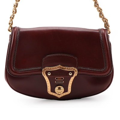 Miu Miu Burgundy Leather Front Flap Shoulder Bag