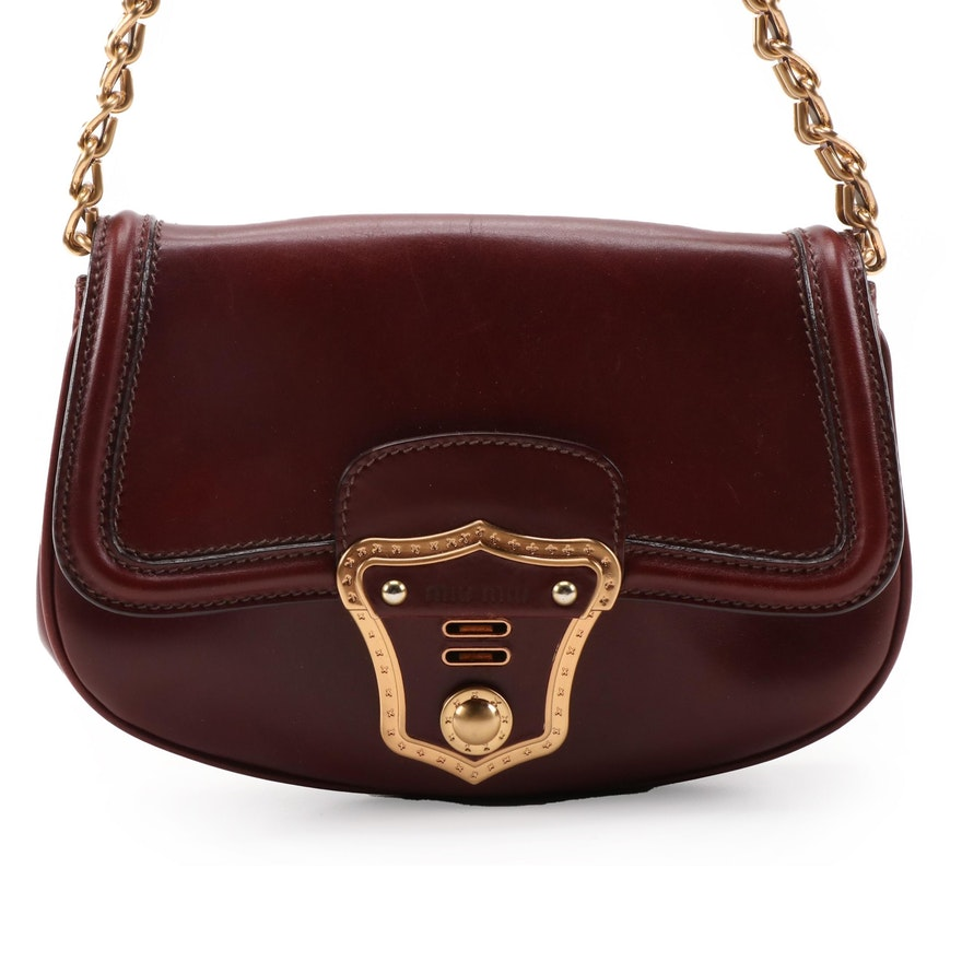 Miu Miu Burgundy Leather Front Flap Shoulder Bag