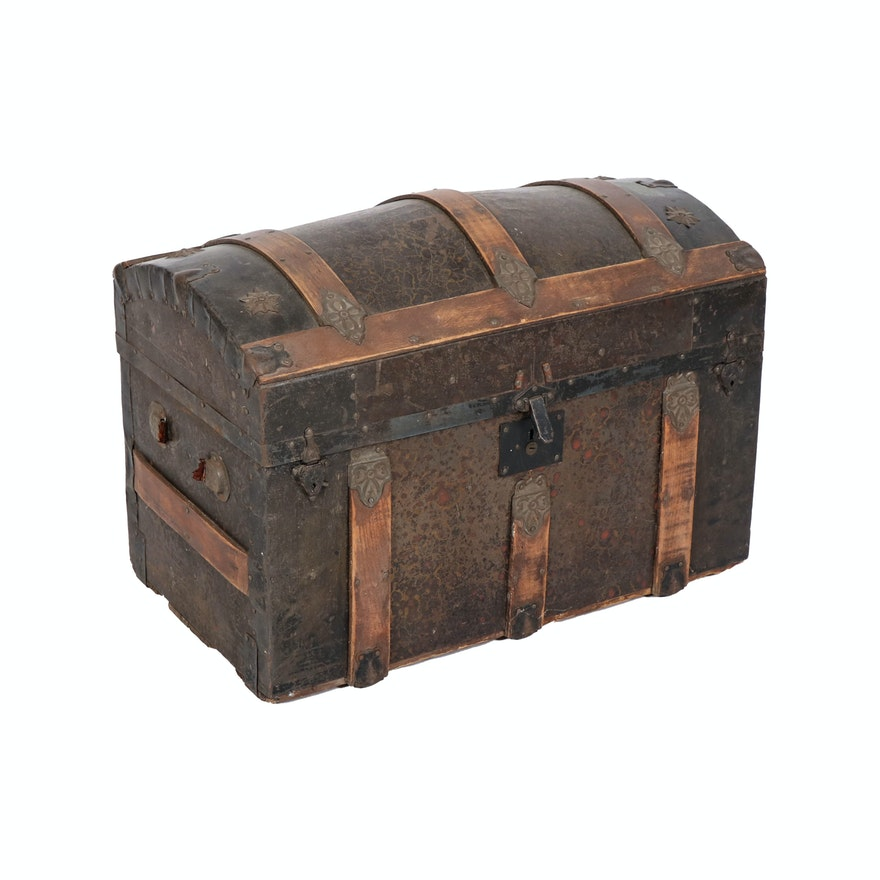 Victorian Copper and Wood Dome Steamer Trunk, 19th/20th Century