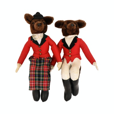 Mr. & Mrs. Fox Hunting Seated Bears, Contemporary