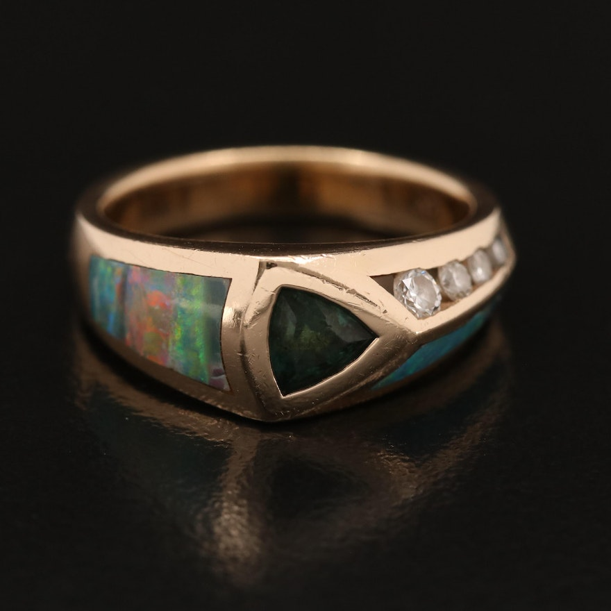 Contemporary 14K Tourmaline Ring with Opal Inlay and Channel Set Diamonds