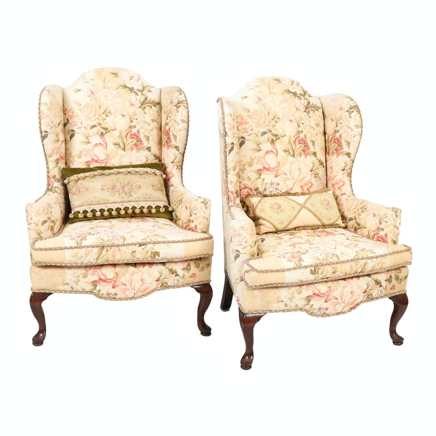 Pair of Queen Anne Style Floral Upholstered Wingback Armchair