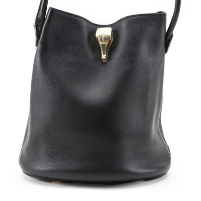 Barry Kieselstein-Cord Metallic Alligator Head and Black Leather Bucket Bag