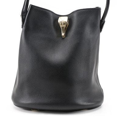 Barry Kieselstein-Cord Metallic Alligator Head and Black Leather Bucket Bag