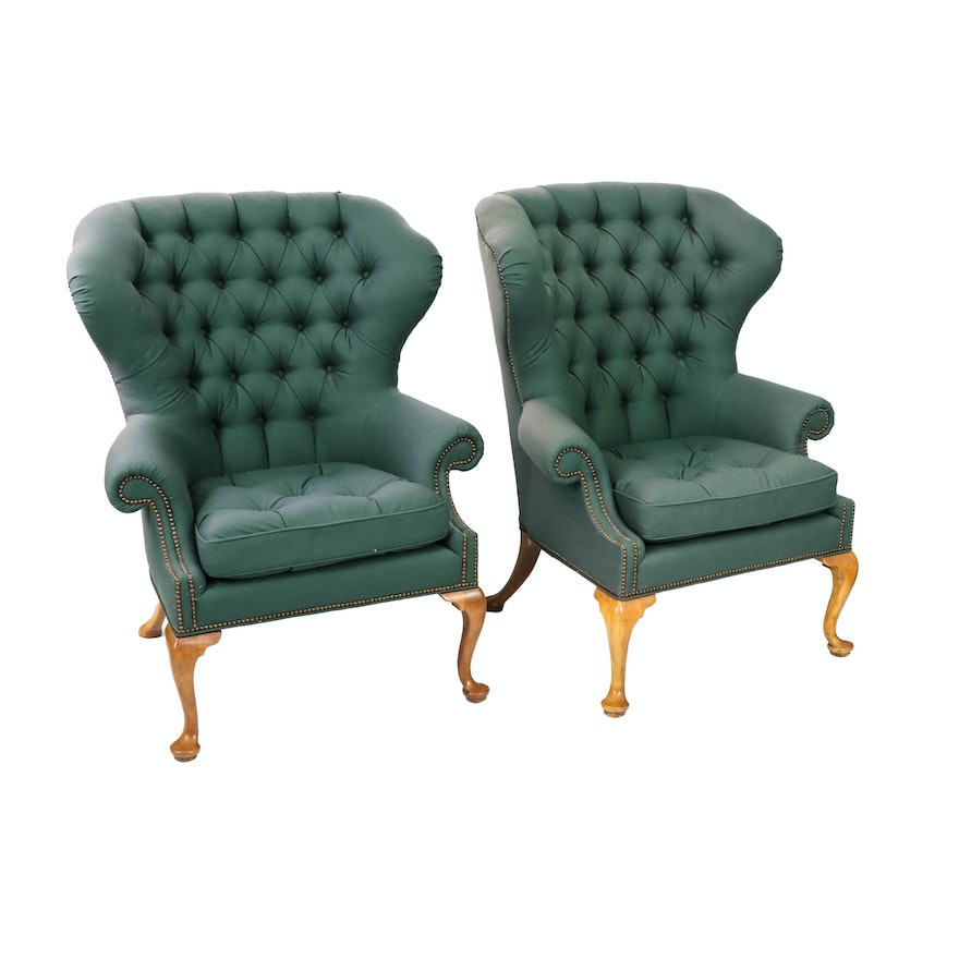 Pair of Baker Furniture Button Tufted Wingback Chairs, Late 20th Century