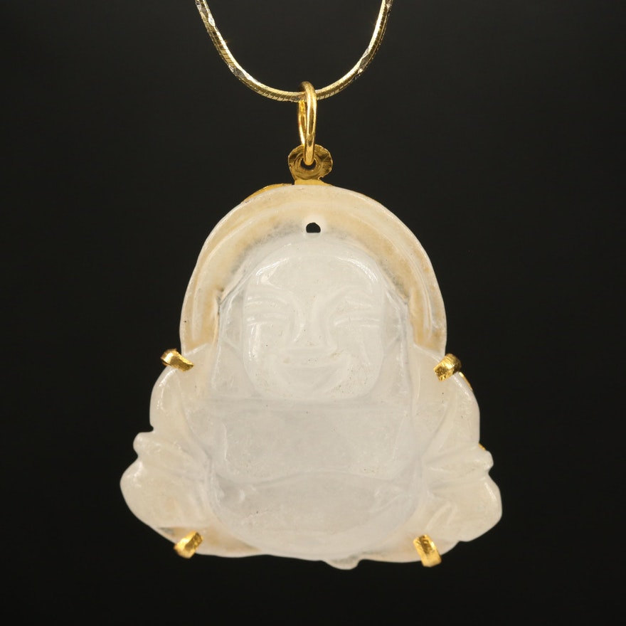 Jadeite Buddha Pendant on Sterling Necklace