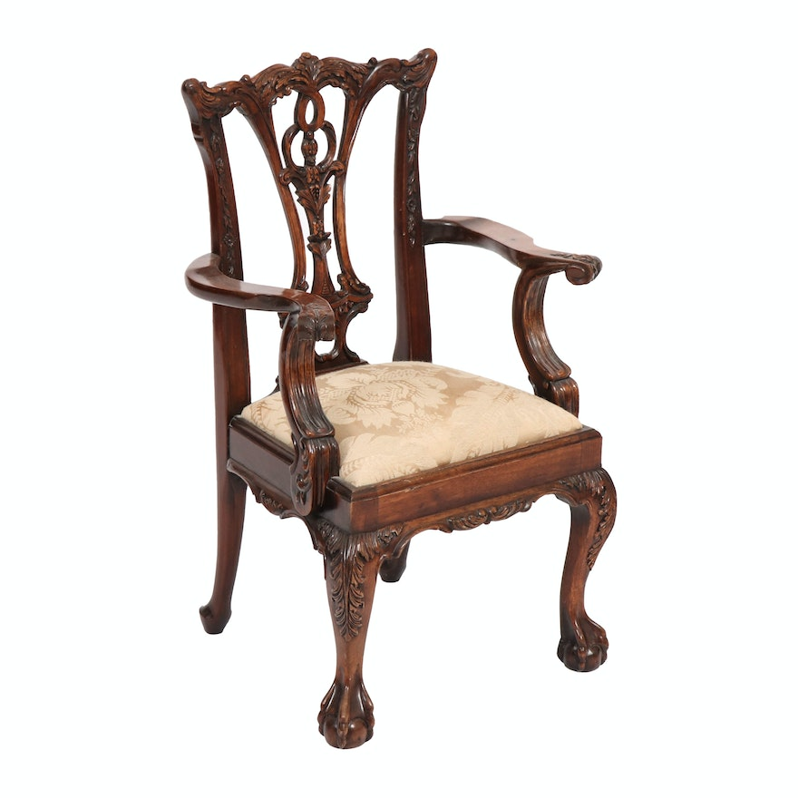 George III Style Child's Size Walnut Armchair, Early 20th Century