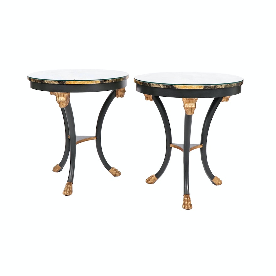 Baker French Empire Style Faux Marble Top Ebonized Wood Side Tables